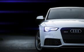 Картинка Audi, ауди, белая, white, блик, RS5, front