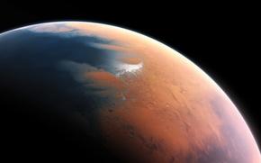 Картинка космос, планета, Mars, billion years ago