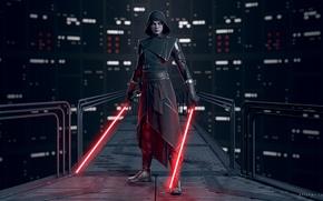 Картинка поза, рендеринг, Star Wars, Звездные войны, render, стойка, световой меч, ситх, lightsaber, sith, Асажж Вентресс, …