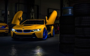 Обои bmw, i8, turner, motorsport, yellow, car, doors, garage, dark, ligth