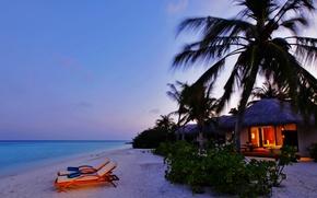 Картинка пляж, пальмы, океан, вечер, бунгало