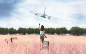 Картинка поле, девушка, самолёт