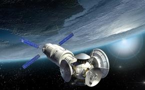 Картинка космос, вселенная, арт, красотища, боке, орбитальная станция, wallpaper., Земля атмосфера, бесконечность звездного поля, съемка исследования, …