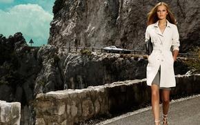 Картинка дорога, девушка, горы, Toni Garrn, стильная