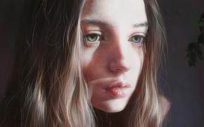 Картинка глаза, взгляд, девушка, лицо, волосы, красавица, art