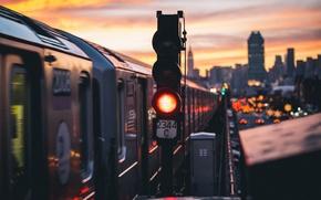 Обои высокая линия, сигнал метро, автомобили, Эмпайр-стейт-билдинг, Нью-Йорк, улица, Соединенные Штаты, сумерки, поезд, небо