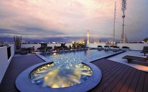 Картинка город, вечер, бассейн, пентхаус, Bangkok