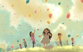 Картинка шарики, дети, праздник