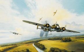 Картинка бомбардировщик, немецкий, Mark, Battle of Britain, raid, Postlewhaite, авиационное сражение, World War II, Битва за …