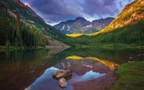 Обои озеро, отражение, горы, природа, пейзаж, лес