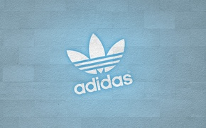 Обои стена, лого, adidas
