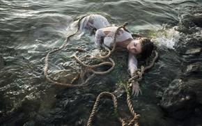 Обои верёвки, девушка, вода