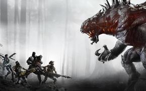Картинка лес, деревья, оружие, монстр, пушки, команда, бойцы, Голиаф, 2K Games, икла, Val, Hank, Evolve, Turtle …