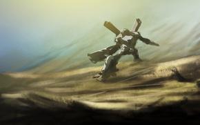 Картинка свет, пустыня, робот, буря, трансформер, дюна, Por-t-falatron