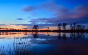 Картинка небо, вода, облака, деревья, закат, гладь, отражение, река, берег, вечер, Нидерланды