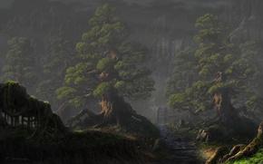 Обои лес, деревья, пейзаж, горы, ручей, водопад, колесо, арт, мельница, Fel-X