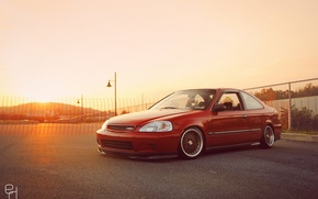 Картинка red, wheels, honda, japan, jdm, tuning, civic, front, face, low, stance, mugen, type r, vtec