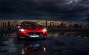 Картинка Maserati, Red, Car, Dubai, Front, Sport, Granturismo, Italian, Ligth, Mc Stradale, Darkside
