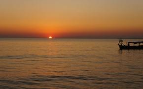 Картинка море, закат, лодка, вечер