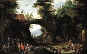 Картинка картина, жанровая, Ян Брейгель младший, Пейзаж со Сценой Католической Мессы в Гроте