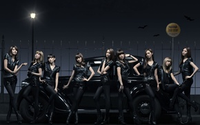 Обои машина, музыка, девушки, группа, фонарь, такси, азиатки, южная корея, SNSD, So Nyeo Shi Dae, Girls ...