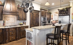 Обои стиль, мебель, стулья, посуда, холодильник, кухня, дизайн