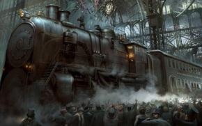 Картинка толпа, вокзал, поезд, крушение, стим