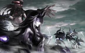 Картинка небо, облака, оружие, девушки, магия, аниме, арт, kantai collection, destroyer water oni, submarine hime, light …