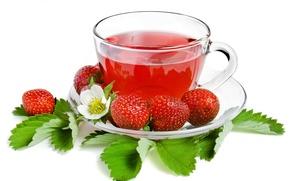 Обои чай, клубника, ягода, чашка, белый фон, листочки, блюдце, strawberry, tea