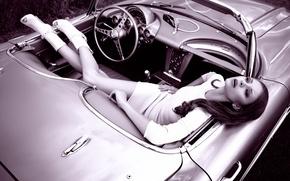 Картинка машина, девушка, Corvette, retro style