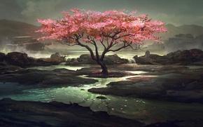 Картинка озеро, дерево, арт, сумрачно