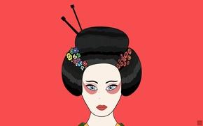 Обои красный, минимализм, цветы, гейша, кимоно, Япония, волосы, рисунок, губы