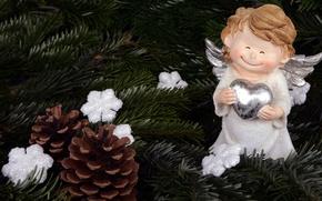 Картинка украшения, снежинки, ветки, улыбка, праздник, игрушка, новый год, мило, рождество, ангел, ёлка, хвоя, крылышки, сердечко, …