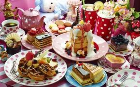 Картинка ягоды, чай, чайник, коктейль, торт, пирожное, вафли, ассорти, десерты, макаруны