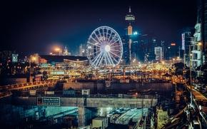 Картинка Китай, Гонконг, горизонт, колесо обозрения