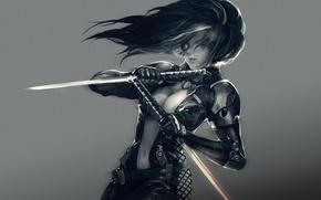 Обои девушка, оружие, мечи, Kelvie