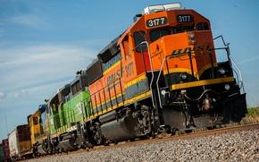 Картинка рельсы, поезд, вагоны, локомотив