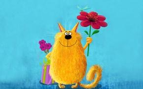 Обои цветок, кот, желтый, розовый, краски, картина, стрекоза, большой, арт, милый, живопись, cat, держит, забавный, painting, ...
