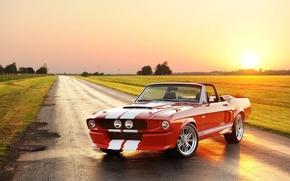 Картинка дорога, небо, солнце, красный, полосы, тюнинг, Mustang, Ford, Shelby, Кабриолет, Форд, Мустанг, tuning, передок, Convertible, ...