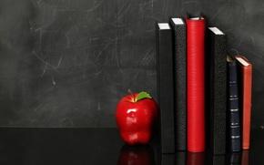 Картинка фон, красное, яблоко, полка, ежедневники