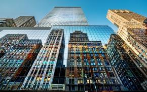 Картинка отражение, здания, Нью-Йорк, фонарь, небоскрёбы, New York City