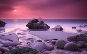 Картинка песок, море, вода, солнце, закат, камни, розовый, остров, Природа