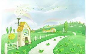 Картинка листья, деревья, холмы, узоры, забор, радуга, дорожка, домик, детские обои