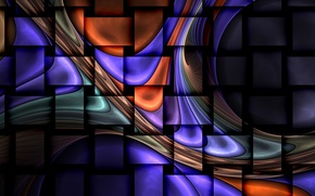 Картинка волны, полосы, фрактал, прямоугольники