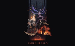 Обои Dark Souls, Lord of Cinder, Gravelord Nito, Collage, Seath the Scaleless, Gwyn, Witch of Izalith, ...