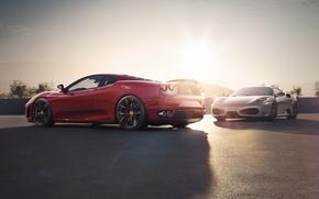 Обои ferrari, f430, scuderia, spider, red, silver, supercar, sky, sunset