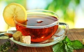 Обои лимон, стол, чай, чашка, циновка, сахар, блюдце, ложка, мята