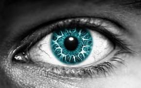 Обои черно-белая, зрачок, цвет, глаз
