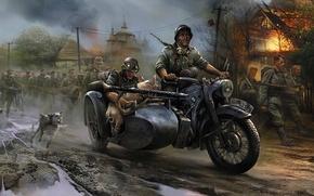 Картинка огонь, война, собака, БМВ, мотоцикл, церковь, свинья, пулемёт, Немцы, вторжение