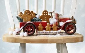 Картинка машина, авто, стул, пряники, снежки